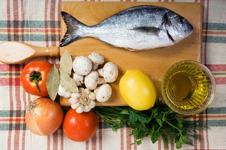 sea bream  and ingredients