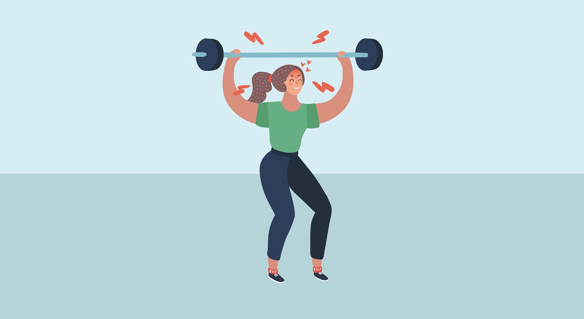Illustration sport et santé bar Ambre Rolland et Inserm : jeune femme portant des haltères